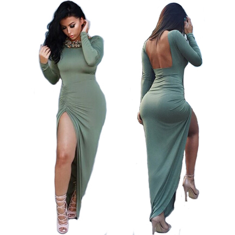 1581a8f6e9e 3 Colors Autumn Fall Backless Bandage Dress Women Long Maxi High Slit  Dresses Slim Bodycon Sexy Club Dress 2015 Black Vestidos