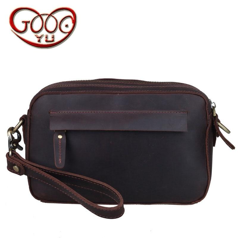 Vintage crazy horse leather zipper bag men bag shoulder Messenger bag cross section square multi-clutch
