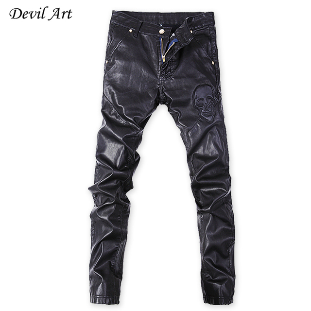 New Men's Skinny Leather Pants Skull Pattern Motorcycle Faux Leather Elasticity Brand Sweatpants Jeans Free Shipping 10-1