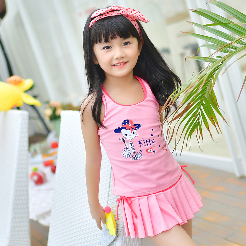 Kids Swimwear Child Swim suit Girl Swimsuit With Skirt Lovely Cat Sweet Pink Two Piece Dress Children Bathing Swimming Beachwear