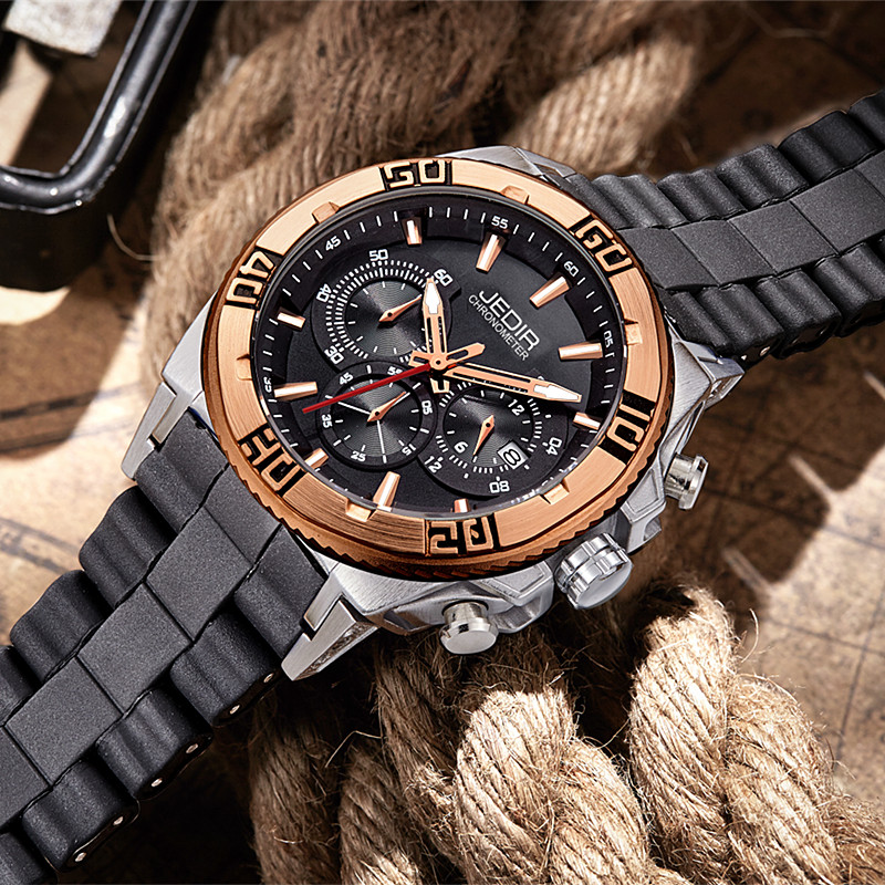 JEDIR Luxury Gold Chronograph Quartz Watch Mens Military Army Silicone Wrist Watches Waterproof Male Clock Auto Date Gift Hours jedir brand luxury watches men army military silicone watch male casual sport relogio waterproof chronograph quartz wristwatch