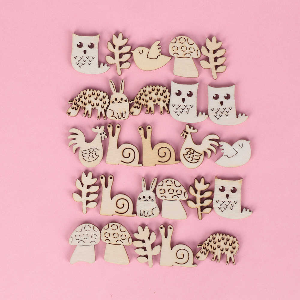 50Pcs/Pack Animal Snail Rabbit Wooden Craft Handmade Embellishment Scrapbook Laser Cut Ornaments Handmade Wooden Piece