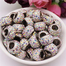 20pcs Big 17mm Rhinestone Beads Large Hole Glass Bead Charms Spacer fit for Pandora Bracelet Bangle Jewelry Making