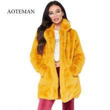 AOTEMAN Plus Size Winter Casual Faux Fur Coat Women New Fashion Vintage Long Sleeve Coat Solid Female Fur Jacket casaco feminino(China)