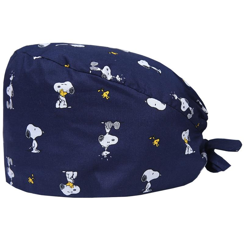 Pet Veterinary Surgical Cap Medical Caps Work Hats Nursing Ground Cap Tieback Straps Sweatband Adjustable Dental Clinic Hats