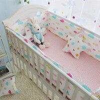 Colorful Clouds Pattern Girl Baby Crib Bedding Set Newborn Bedding Set Children Cot Set Infant Crib Bumper Sheet Quilt Pillow