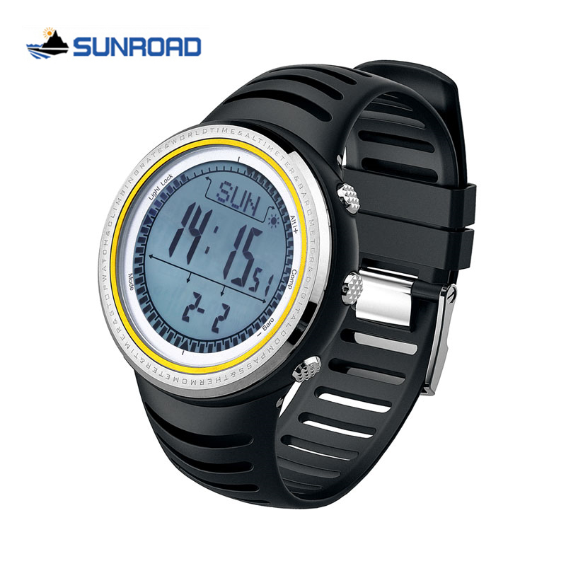 6365e1c61b27 Sunroad digital Sport Watch W altímetro + barómetro + Brújulas mundo +  tiempo cronómetro Militar reloj LED back luz Relogio Masculino