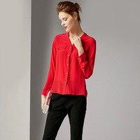 100% шелк красный v образный вырез однобортная блузка 2019 новые женские весенние летние рубашки с длинным рукавом