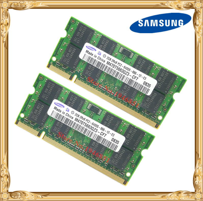 Memória do portátil de samsung 4 gb 2x2 gb 800 mhz PC2-6400 ram do caderno ddr2 4g 800 6400 s 2g 200-pino SO-DIMM