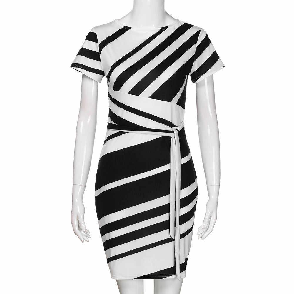2018 אופנה עבודה שמלות עיפרון פס מסיבת שמלת נשים מקרית מיני שמלות Vestidos Mujer