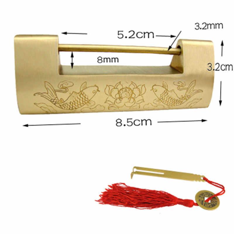 Bijoux en laiton coffre boîte valise Case carpe boucles moraillon loquet attraper fermoir Vintage chinois meubles mariage poisson boulon serrure, 1 Pc