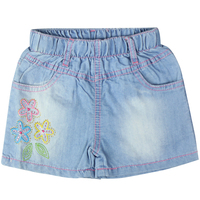 Baby Girl S Embroidery Floral Star Pattern Short Jeans With Rhinestone Pockets And Elastic Waistband For