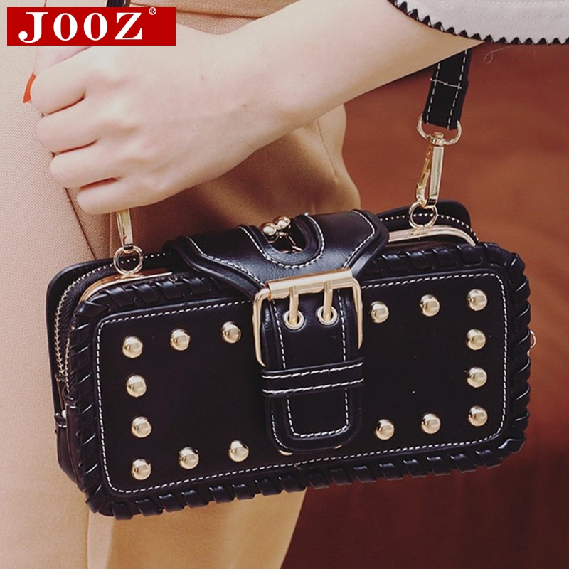 ФОТО 2017 Punk style women bag Belt designer clutch purse small Women Leather Handbags fashion rivet CrossBody Shoulder Bolsos