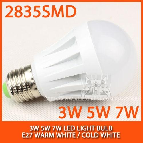 1lot/5PCS High brightness LED Bulb Lamp E27 2835SMD 3W 5W 7W AC220V 230V 240V Cold white/warm white Free shipping