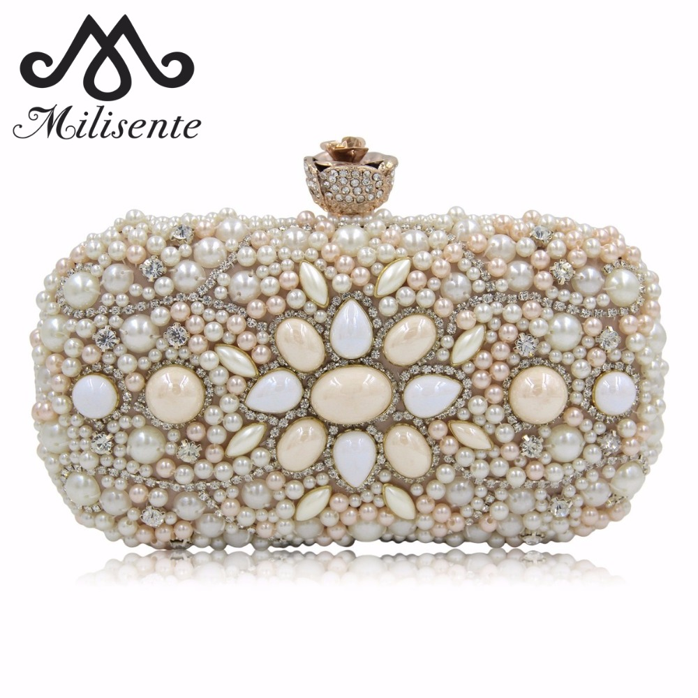 Milisente Women Evening Clutch Beaded Bag Party Bags Lady Purse Small Vintage Wedding Clutches led телевизор samsung ue28j4100
