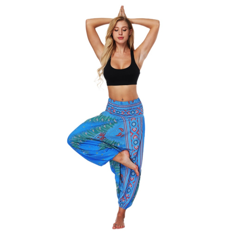 Women High Waist Yoga Pants Printed Loose Thin Lantern Style Loose Outdoor Pants Thailand Bohemia Fitness Sport Trousers chic high waist hit color sport pants for women