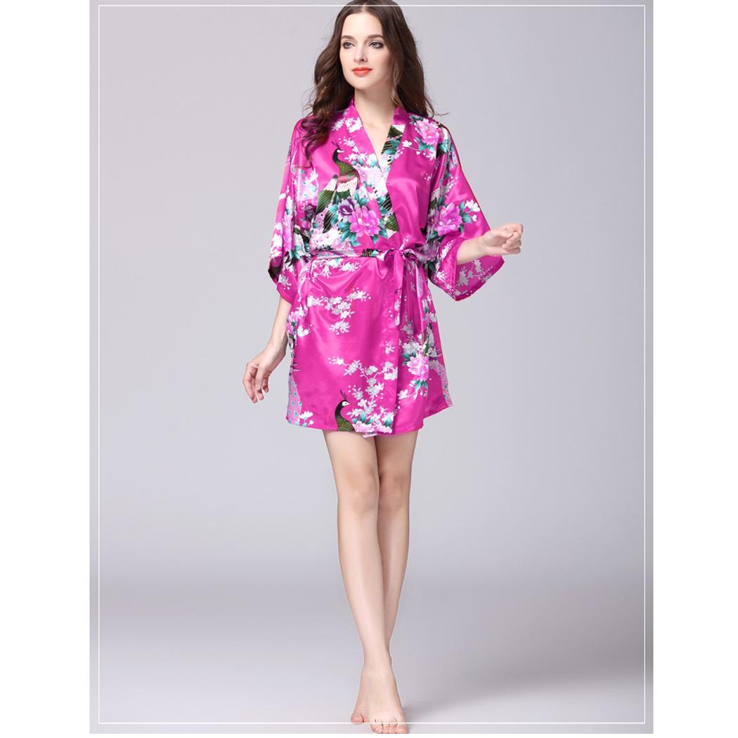 Fashion Loose Print Flower Robe Women 1/2 Sleeve Dot Print Striped ...