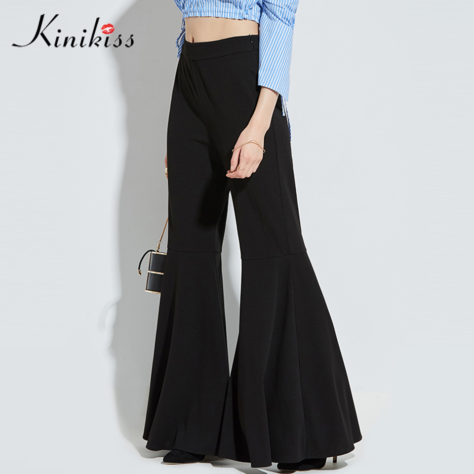 Kinikiss Women High Street Bell Bottoms Pants Black 2017 Long Flared Vintage Trousers Fashion Office Lady Wide Leg Pants