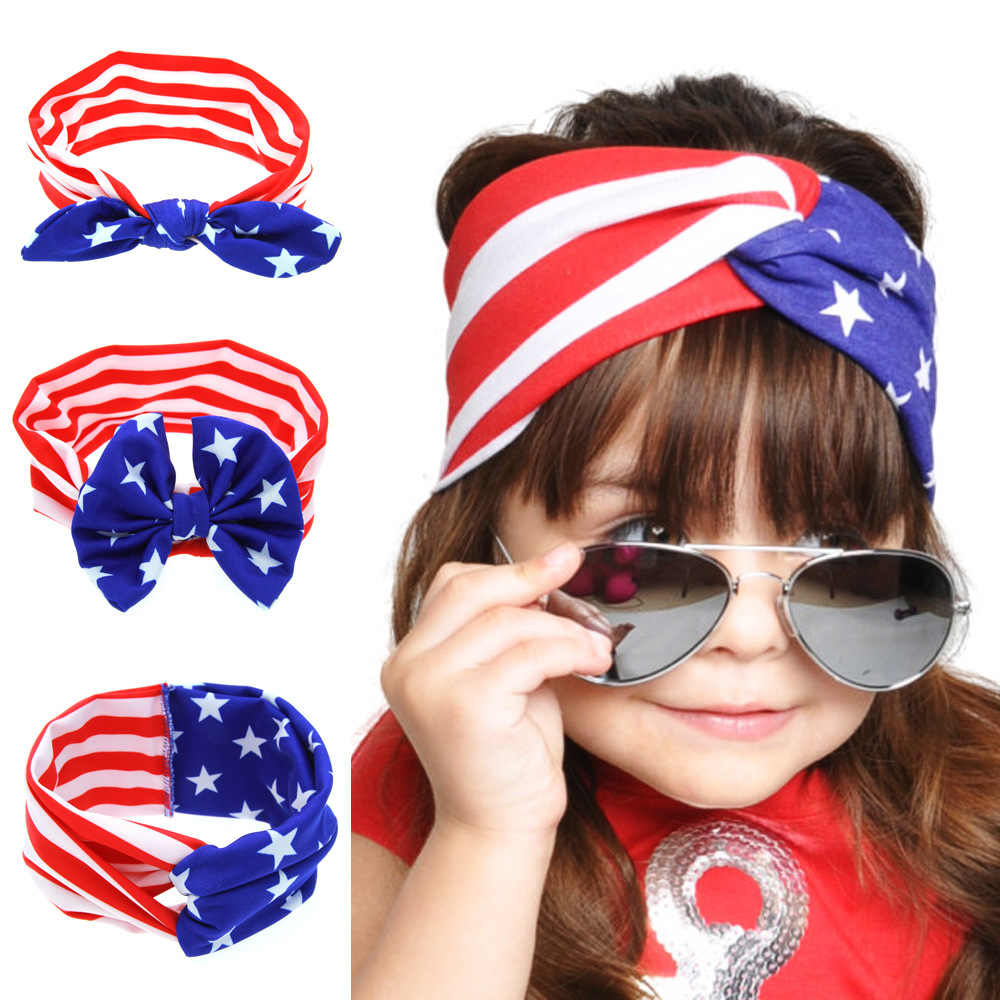 4th of July Fascia Bandane Bandiera Americana Modello di Bowknot Elastico Panno Sveglio Hairband Accessori Para Cabelo Menina Turbanti 1