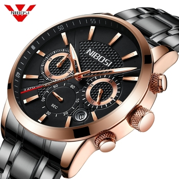 NIBOSI Mens Watches Top Luxury Brand Waterproof Sport Rose Black Wrist Watch Chronograph Quartz Military Clock Relogio Masculino