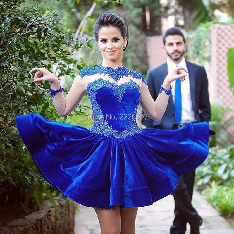 Elegant-Royal-Blue-Short-Prom-Dresses-vestido-de-festa-curto-High-Neck-Appliqued-Beaded-Long-Sleeve