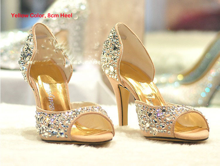 Summer Fashion High Heels Rhinestone Pump Party Evening Formal Dress Shoes Peep Toe Sandals Wedding Shoes Sparkling Stiletto aidocrystal elegant peep toe shoes with detachable heels colorful rhinestone evening shoes with matching bags