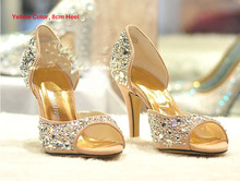 Summer Fashion High Heels Rhinestone Pump Party Evening Formal Dress Shoes Peep Toe Sandals Wedding Shoes Sparkling Stiletto