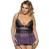 Sexy Lace Ribbon Steel Bra Garter Nightgown Xl Sexy Lingerie Produtos Eroticos EYD70008