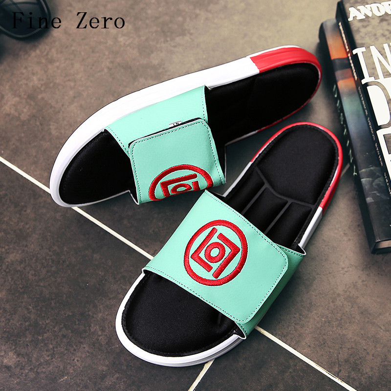 Fine Zero 2017 Male Black Green Fashion Shoes Summer Super Cool Comfortable Korean Style Beach font