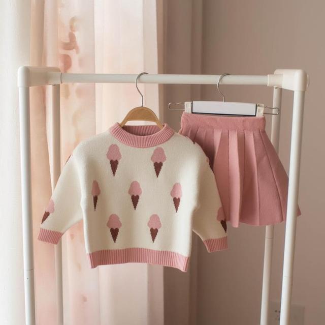 Bé Thu Đông Bé Gái Bộ Quần Áo Trẻ Em Cotton 2 Chiếc Khăn Vải Trẻ Em Trang Phục Áo + Váy Áo Len Bộ Đồ Cho Bé Gái bộ Trang Phục Hóa Trang 5T