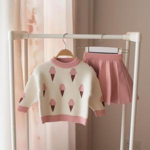 Image 1 - Bebê outono inverno meninas conjunto de roupas crianças algodão 2 pçs panos crianças roupas camisa + saia camisola terno para meninas traje 5 t