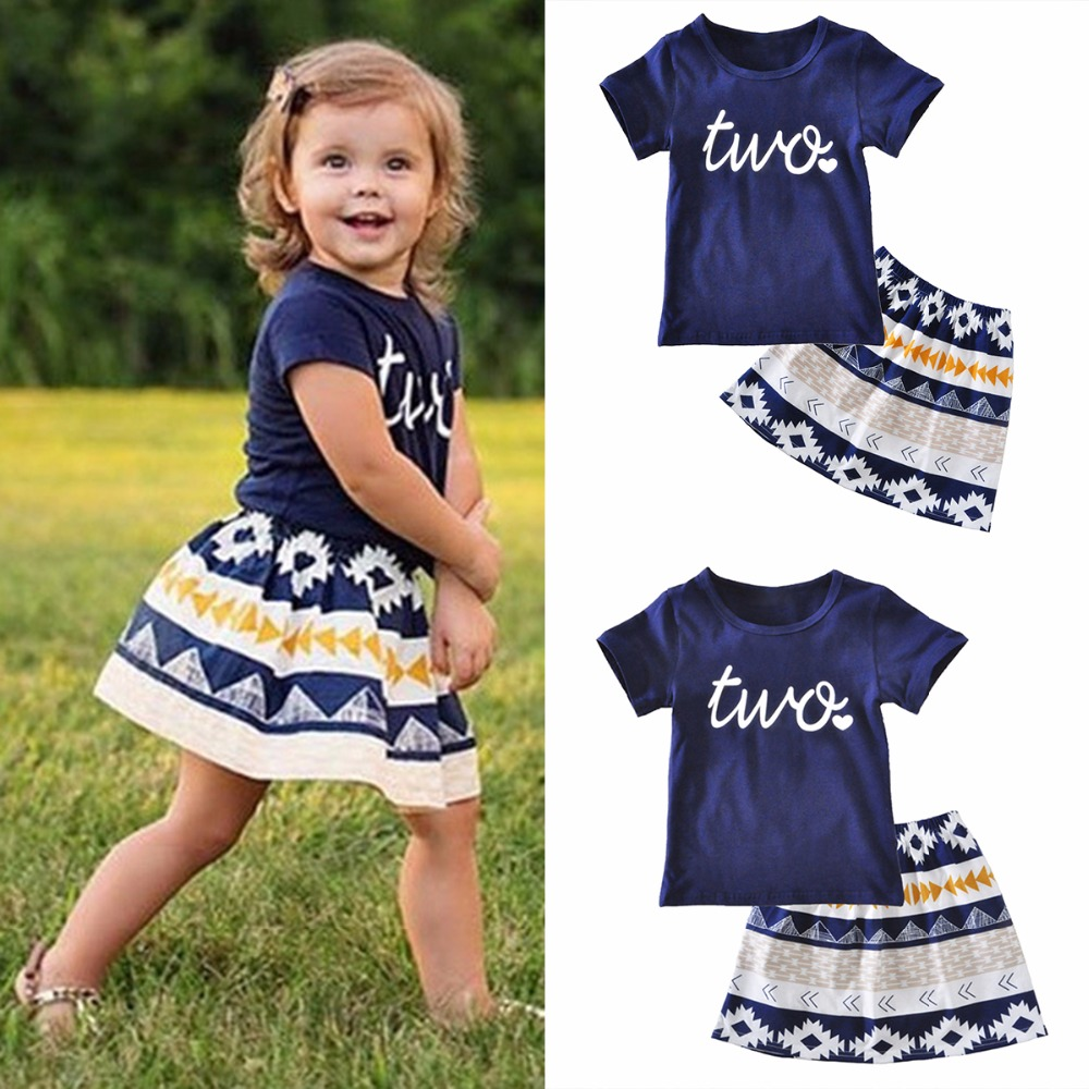 Puseky Toddler Kids Baby Girl Clothing Summer Outfits Short Sleeve Two Print T-shirt Tops+ Skirt  Cotton 2PCS Set Girls Clothes 2016 3 7y kids girls t shirt summer cartoon elsa and anna baby gilr clothes t shirt short sleeve for children girl tops clothing