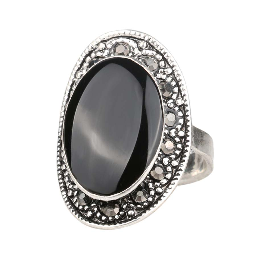 HOT Cheap 2015 Vintage Jewelry Oval Black And Green Enamel Ring For Women Silver Plated Crystal