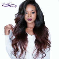 Dream Beauty Ombre dark red Glueless Lace Front Wig 130% Density Lace Front Human Hair Wig with Baby Hair Pre Plucked Remy Hair