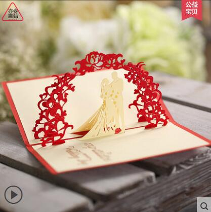 2016 On Sale Creative Gifts Married Marry Cards Wedding Invitations 3D DIY Western Style Paper