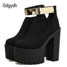 Gdgydh 秋の女性のアンクルブーツプラットフォームブランドデザイナー 2019 春のファッションブリンブリン厚いかかとの女性靴黒ブーツフロック