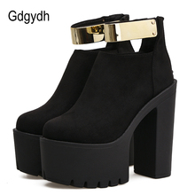 Gdgydh Autumn Women Ankle Boots Platform Brand Designer 2019 Spring Fashion Bling Thick Heels Ladies Shoes Black Boots Flock цены