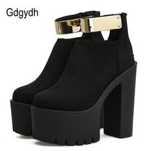 Gdgydh automne femmes bottines plate forme marque concepteur 2019 printemps mode Bling talons épais dames chaussures bottes noires troupeau