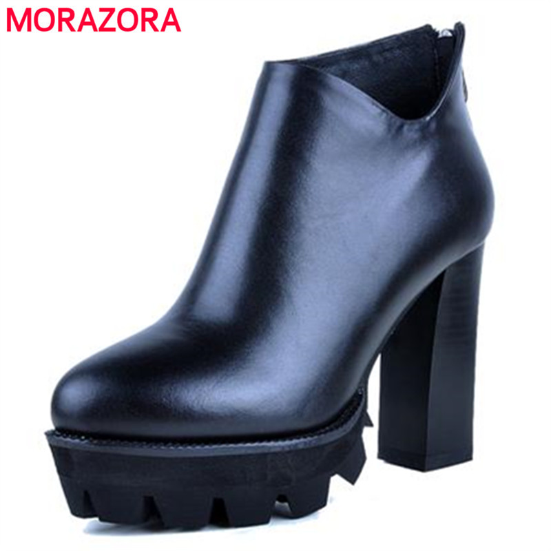 ФОТО Genuine leather hot sale black solid office lady after the zipper women boots soft leather round toe high heels ankle boots