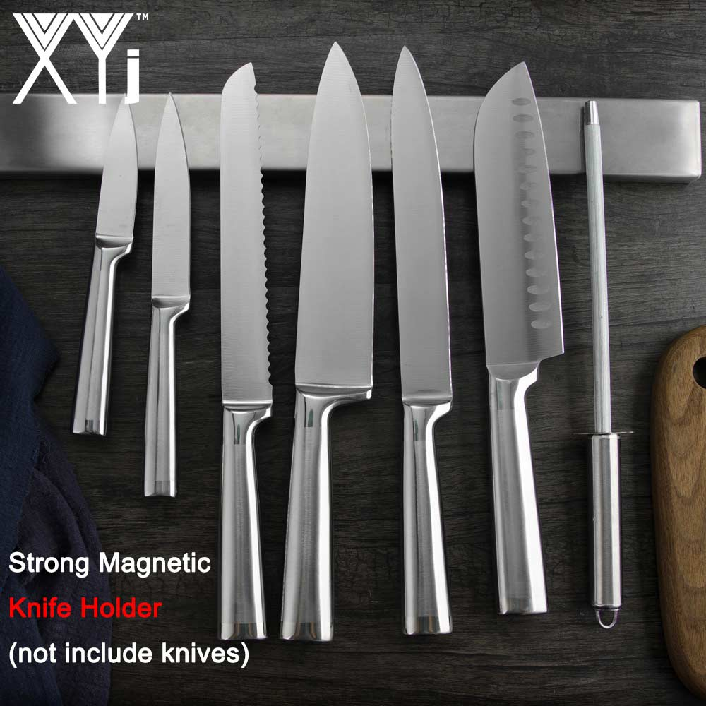 XYj Magnetic Self-adhesive 44cm Knife Holder Stainless Steel 304 Block Magnet Knife Holder Rack Stand For Metal Kitchen Cleaver