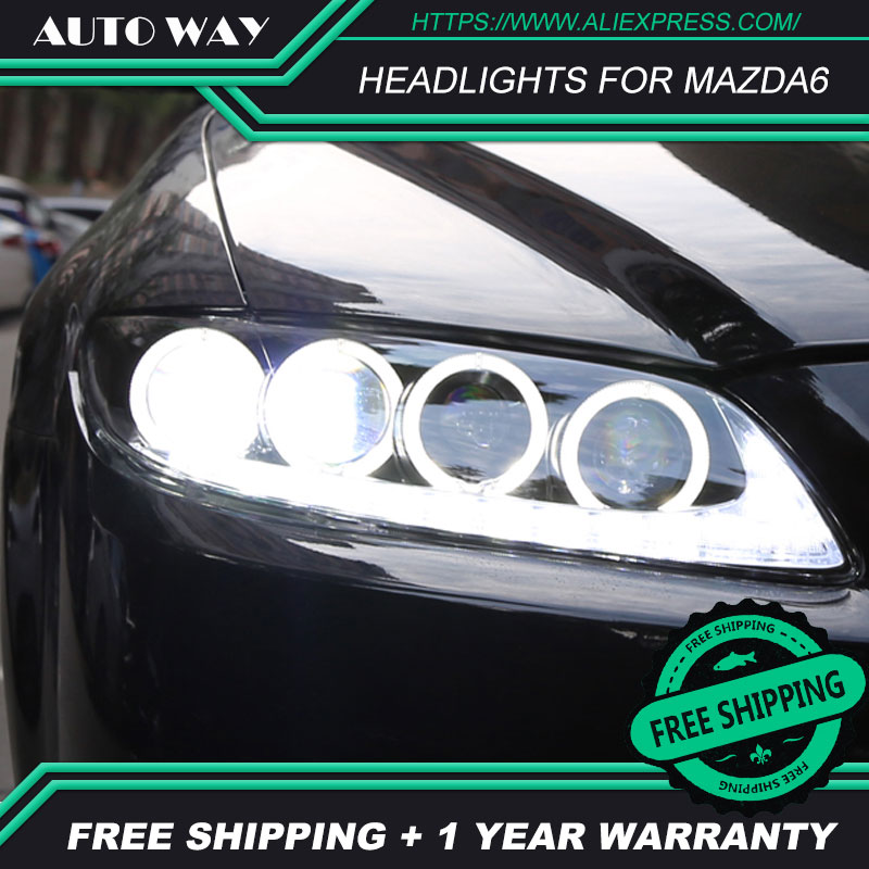 Car styling LED HID Rio LED headlights Head Lamp case for Mazda6 <font><b>Mazda</b></font> <font><b>6</b></font> M6 headlight 2003-2013 Bi-Xenon Lens low beam image