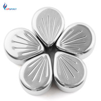 Upspirit 5 PCS Lot Stainless Steel Whiskey Ice Cubes Cooler Soapstone Cherry Blossom Shape Beverages Chilling