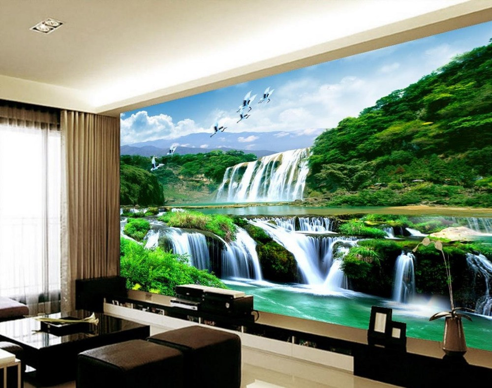 3d room wallpaper landscape waterfall 3d stereoscopic for Wallpaper home renovation
