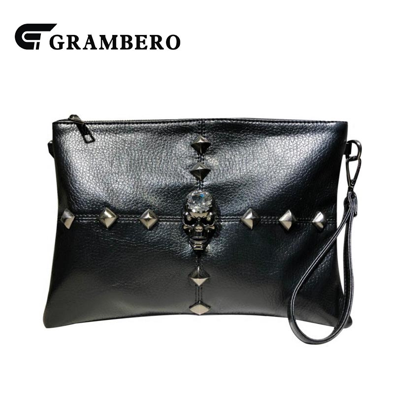 Korean Style Rivet Clutch Purse Women Banquet Fashion Clutches Bag Wallet Black Color Soft PU Leather Crossbody Shoulder Bags celebrity day clutches high capacity handbag fashion star long wallet purse evening banquet chains shoulder crossbody bag zipper