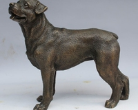 7Abstract Art Sculpture Decoration China Copper Bronze Dog Statue Figurine
