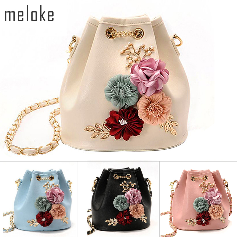 Meloke 2019 Handmade Flowers Bucket Tasker Mini Skuldertasker Med Chain Drawstring Små Cross Body Tasker Pearl Bags Leaves Decals