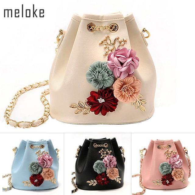 Meloke 2019 בעבודת יד פרחים דלי שקיות מיני כתף שקיות עם שרשרת שרוך קטן צלב גוף שקיות שקיות פנינת עלים מדבקות