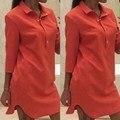 5 cores mulheres camisa casual dress 2017 nova primavera colarinho turn-down three quarter sleeve curve hem sólidos mini vestidos vestidos