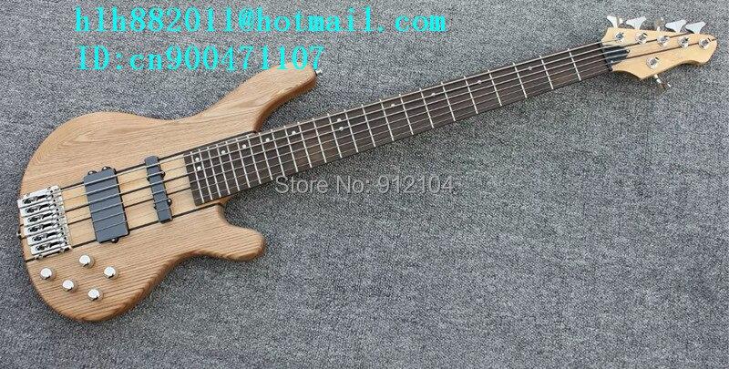 Nouvelle guitare basse électrique 6 cordes en naturel avec corps en orme et ramassage passif + EMS livraison gratuite + boîte en mousse F-1983