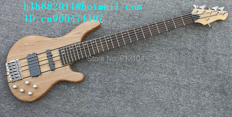 new 6 strings electric bass guitar  in natural with elm body and passive  pickup +EMS free shipping+foam box F-1983 free shipping new electric guitar and bass 2 a250k 2 b250k big tone and volume electronic dr 8159